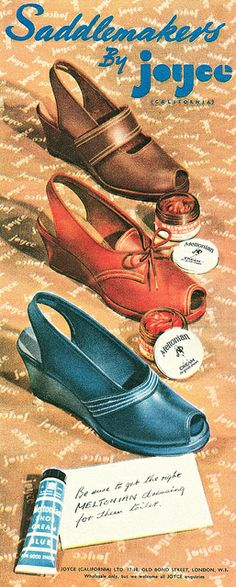 1948 Joyce Shoes ad late 40s wedge sandal brown blue black red open toe color illustration print ad Joyce saddle makers