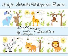 CUTE JUNGLE ANIMALS WALLPAPER border decals for baby boy nursery or children's room wall art decor. Includes a zebra, monkey, giraffe, elephant, tiger, lion, and koala bear #decampstudios