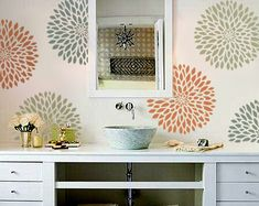 STENCIL for Walls - Chrysanthemum no. 2 - Flower stencil for Walls - Reusable Modern Wall Decor. $34.95, via Etsy.
