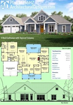 Architectural Designs 4 Bed Craftsman House Plan 51756HZ gives you single-floor living under 2,800 square feet. The porch in back has an optional outdoor kitchen. Ready when you are. Where do YOU want to build? Plans: https://www.architecturaldesigns.com/51756hz