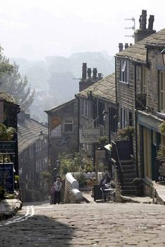 U.K. Haworth village, Bradford, West Yorkshire, England. The Bronte sisters wrote most of their novels while living in Haworth.