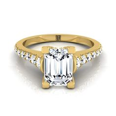Emerald Cut Diamond Engagement Ring With Graduated Diamond Side Stone In 14k Yellow Gold (3/8 Ct.tw)