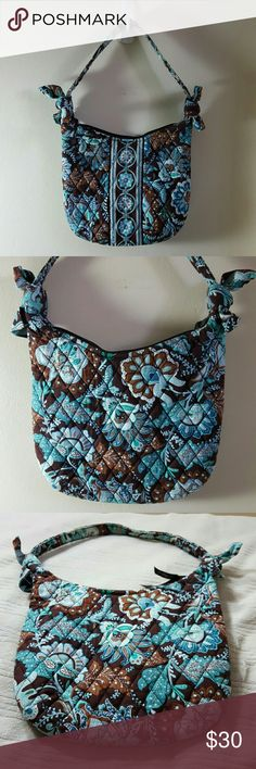 """VERA BRADLEY - RETIRED PATTERN - PURSE BEAUTIFUL CHOCOLATE BROWN AND TURQUOISE VERA BRADLEY RETIRED PATTERN IN THE NAME OF (JAVA BLUE) SMALL PURSE MEASURING APPROXIMATELY 8"""" HIGH X 9"""" WIDE, 3/4 INCH WIDE STRAP WITH HANDLE DROP AT 8"""".  ZIPPERED MAIN COMPARTMENT AND 3 OPEN INTERIOR SLIP POCKETS.  NO FADING, STAINS RIPS OR TEARS, FRESHLY LAUNDERED, FROM A SMOKE FREE & PET FREE HOME.  :) Vera Bradley Bags Mini Bags"""