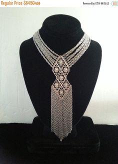 Now On Sale Vintage Bib Necklace 1960's 1970's by MartiniMermaid #1970's #tasselnecklace #statementnecklace