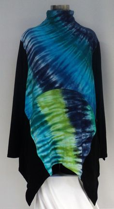 Size large tie dye top with turle neck by qualicumclothworks