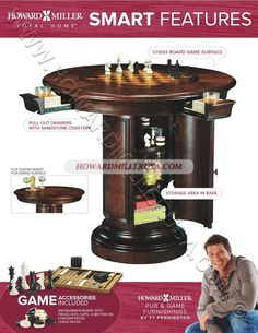 699010 Howard Miller Gaming Pub Table.  Has a durable clear coat for wear protection.  Accommodates four people and features four full-extension drawers. Each drawer holds beverages and snacks and includes a removable sandstone drink coaster to absorb moisture.The center's top is removed by pushing up on metal rods located underneath. An upholstered backgammon board is provided in the well below.Free Game Accessories include: Backgammon pieces with dice cups, dice, and a betting die