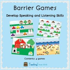 This set of 4 barrier games promotes speaking and listening as children must give each other specific instructions in order to match their pictures