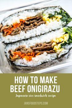 Using the same ingredients as my bibimbap recipe, let's make gimbap or onigirazu! Gimbap is a Korean rice roll while onigirazu is Japanese a rice sandwich. Gimbap Recipe, Onigiri Recipe, Bento Recipes, Cooking Recipes, Healthy Recipes, Sushi Sandwich, Onigirazu, Good Food, Yummy Food