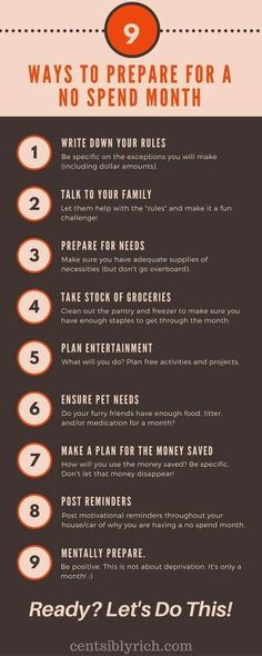 Prepare for a no spend month  Take control of your finances  Lauren B Montana