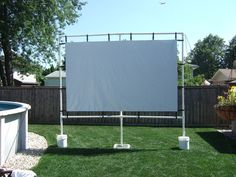 Outdoor Movie screen made with pvc back yard,