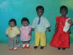 Set of FOUR Black Dollhouse Dolls Mom, Dad, Son & Daughter + Baby Bendies   eBay