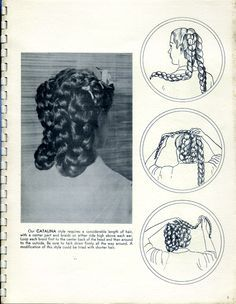 """Vintage Hairstyles Retro """"Our CATALINA style requires a considerable length of hair, with a enter part and braids on either side high above each ear. Ghana Braids Hairstyles, Retro Hairstyles, Braided Hairstyles, Updo Hairstyle, Braided Updo, Wedding Hairstyles, Civil War Hairstyles, Historical Hairstyles, Victorian Hairstyles"""