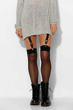 JAKIMAC Rhea Leather Garter Belt Set - Urban Outfitters