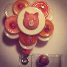 Pink Little Piggy With Rhinestones Flip Top Retractable ID Badge Reel