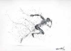 Running man ---- Black Ink drawing by Maurizio Puglisi Running Drawing, Running Art, Dotted Drawings, Ink Pen Drawings, Runner Tattoo, Bts Design Graphique, Stippling Art, Artist Sketchbook, Cool Sketches