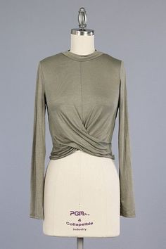 Olive Long Sleeve Crop Top