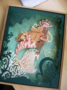 Brittney Lee - Mermaid Cut Out Art Kirigami, Papercut Art, Book Art, Brittney Lee, Cut Out Art, Paper Illustration, Paper Artwork, Harry Potter Art, Mermaid Art
