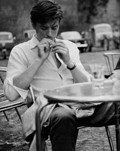 Alain Delon (aka life ruiner) on the set of Purple Noon/ Plein Soleil dir. René Clément), the first film adaptation of Patricia Highsmith's The Talented Mr. Alain Delon, Romy Schneider, Looks Black, Black And White, Cinema, Bild Tattoos, Before Midnight, Shooting Photo, The Godfather