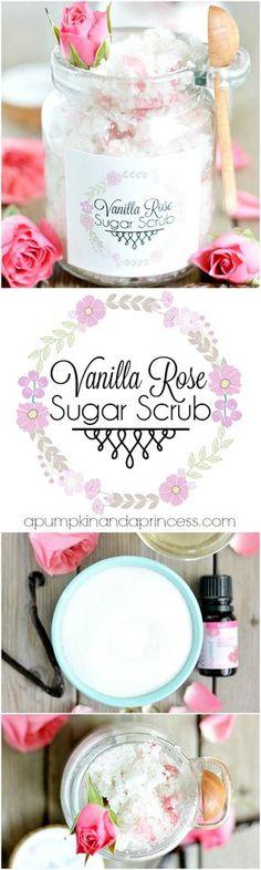 Vanilla Rose Sugar scrub (or make it without the rose petals for a vanilla scrub)