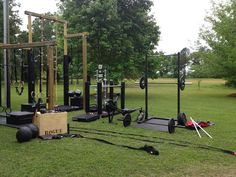 Full blown Rogue outdoor gym. Why it's outdoors, I have no idea, but it sure looks like a lot of fun to work out here