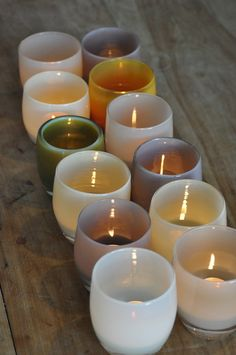 Glassybaby candle holders in San Francisco Shop, via Remodelista