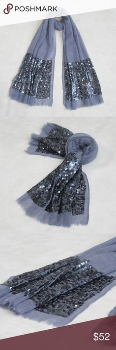 "NWT! Sequin work long scarf; Woolen scarf; Oblong Big Sequin Sparkle Holiday Collection: Handmade Scarves  OVERVIEW  A wide border embellished with sequins. Warm wool scarf perfect for winter evening and the holidays.   PRODUCT DETAILS  STYLE # EB-SCV-291 TYPE: OBLONG MATERIAL: Wool Blend DIMENSIONS: L 74"" x W 26"" WASH CARE: Dry-clean Only 7 Artisan Street® Accessories Scarves & Wraps"