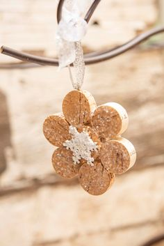 Excited to share this item from my shop: Wine Cork Snowflake Ornament Wine Cork Jewelry, Wine Cork Art, Wine Cork Crafts, Wine Corks, Crafts With Corks, Cork Christmas Trees, Christmas Ornament Crafts, Cork Garland, Wine Cork Ornaments