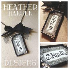 Handwritten Shine On Vintage German Glass glitter Pendant by HHD