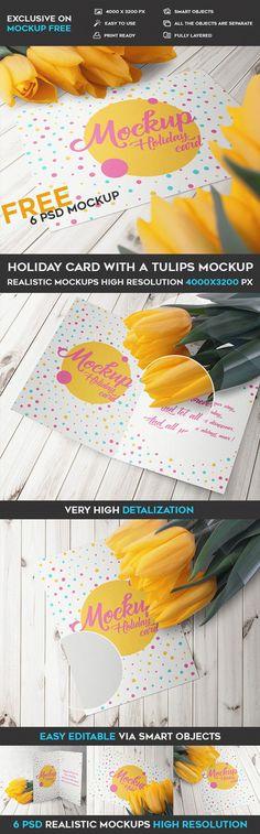 FREE portrait greeting card PSD mockup #free #gift #card