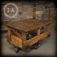 Vintage Industrial Rail Yard Rocker Cart Kitchen Island Table Bar