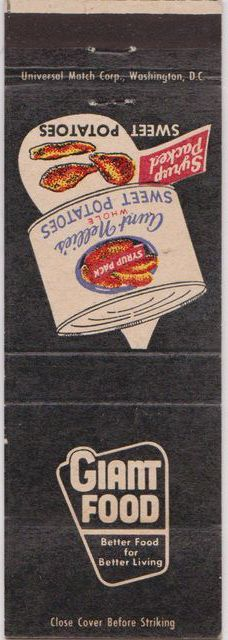 Giant Food matchbook, 1950s.