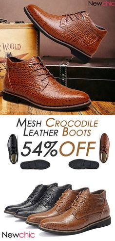 27f110ed3 Big Size Mesh Crocodile Pattern Pointed Toe Leather Short Boots For Men   boots  style