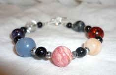 SALE - 7 Chakra Bracelet - Multi Gemstones - Natural and Large - Angelite Amber and More - Balance and Energy