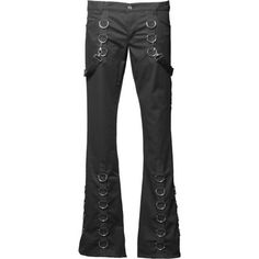 Long black gothic pants made from cotton, ornate with metallic d-rings and bondage straps. These pants by Aderlass have a front zipper and button fly.