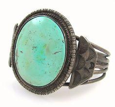 Old-Pawn-Navajo-Handmade-Solid-925-Sterling-Silver-Turquoise-Cuff-Bracelet-J-LI