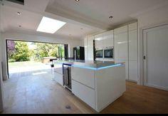White gloss kitchen bifold doors