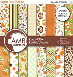 80%OFF Forest Animals Digital Papers Foxes by AMBillustrations
