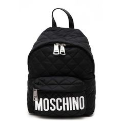 MOSCHINO Quilted nylon mini backpack with logo (€320) ❤ liked on Polyvore featuring bags, backpacks, black, nylon bag, knapsack bag, logo backpacks, quilted nylon backpack and mini backpack