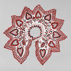 ++ POLISH EMBROIDERY ++ Ruff from a womans blouse. Hand embroidered.  Eastern Krakowiak Folk, Zalipie, P. Dąbrowa Tarnowska, 19th-20th c.