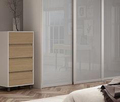 Deluxe Shaker single panel sliding wardrobe doors in Light Grey glass with Cashmere frame.