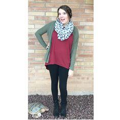 LuLaRoe top, green cardigan, elephant scarf, and black boots  #LuLaRoe #ootd #falloutfit
