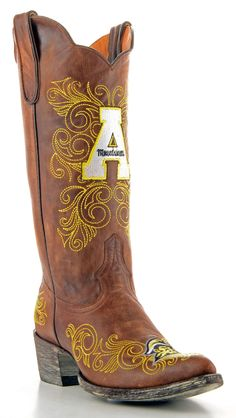 Gameday Appalachian St Ladies Leather Boots - Brass