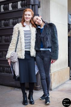 Haute Couture SS 2014 Street Style: Anastasia Ivanova and Ming Xi - STYLE DU MONDE |  6 Feb '14 Anastasia Ivanova and Ming Xi, fashion models, after Elie Saab SS14 couture show.
