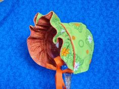 Reversible Baby Bonnet Lime Green and Orange by AdorableandCute on Etsy