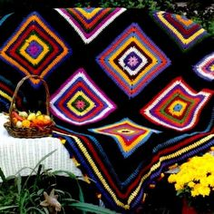 INSTANT DOWNLOAD PDF Vintage Crochet Pattern Pinata  Granny Squares Afghan Throw Blanket Retro