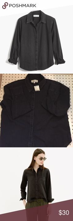 Madewell Denim Crop Boyshirt Gravel Wash NWT Lovingly worn-in denim in a fresh, slightly cropped fit. The one that'll make you wonder what on earth you wore before.   New with tags, never been worn.  True to size. Cotton. Machine wash. Import. Madewell Tops Button Down Shirts