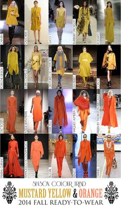 Colour Trend - 2014 Fall RTW Collection Review (Autumn/Winter) - Mustard Yellow & Orange Colour Trends, Fall Winter, Autumn, 2014 Trends, Fashion Colours, Mustard Yellow, Archive, Orange, Spring