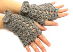 Fingerless Gloves, Brown, Crochet fingerless gloves, Tie Gloves, Perforated Pattern, Crochet tie, Boho glove mittens, Spring gloves