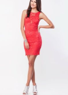 Trending scallop lace round-neck sleeveless deep-back sexy bodycon-dresses best for night-outs  via @Roposo