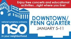 National Symphony Orchestra NSO In Your Neighborhood 2016 Downtown/Penn Quarter January This year's NSO In Your Neighborhood program heads to the vibrant Downtown and Penn Quarter areas … Free Concerts, Educational Activities, Orchestra, The Neighbourhood, January, Band, Teaching Activities, The Neighborhood, Educational Crafts